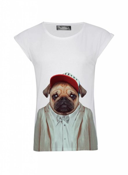 T-Shirt Rolled Sleeve Ladies - Pug - Zoo Portraits