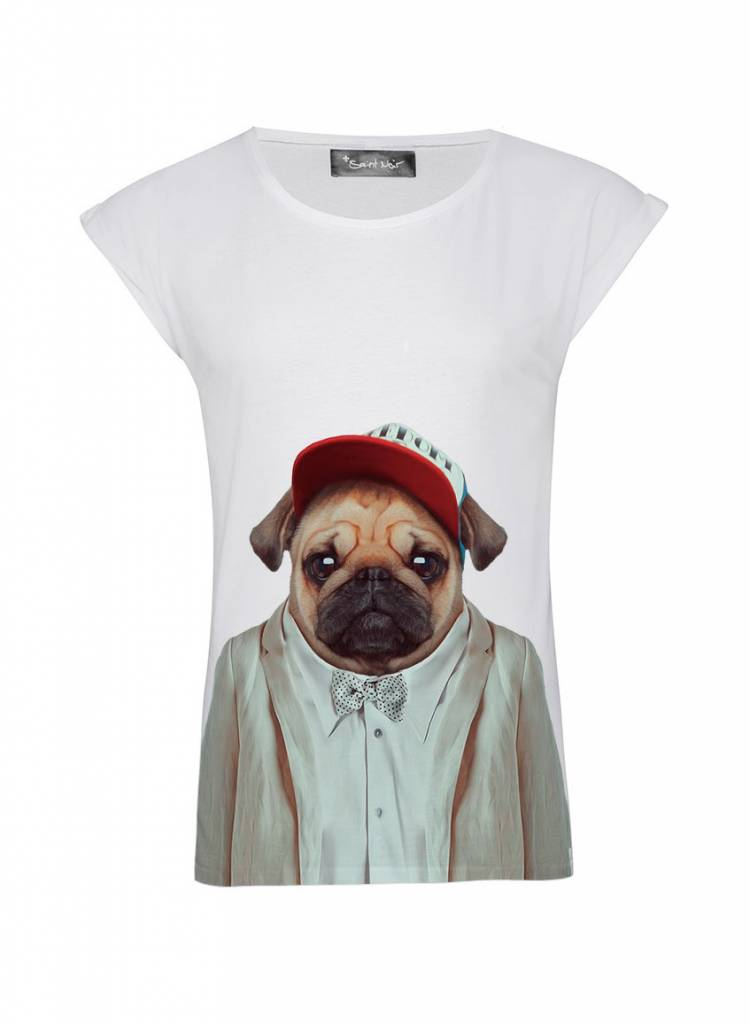 T-Shirt Rolled Sleeve Damen - Pug - Zoo Portraits