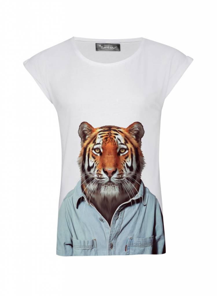T-Shirt Rolled Sleeve Ladies - Tiger - Zoo Portraits