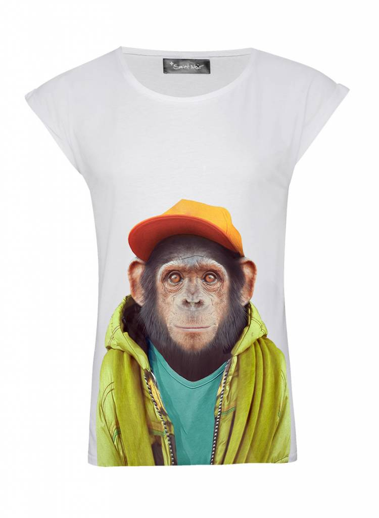 T-Shirt Rolled Sleeve Ladies - Chimpanzee - Zoo Portraits
