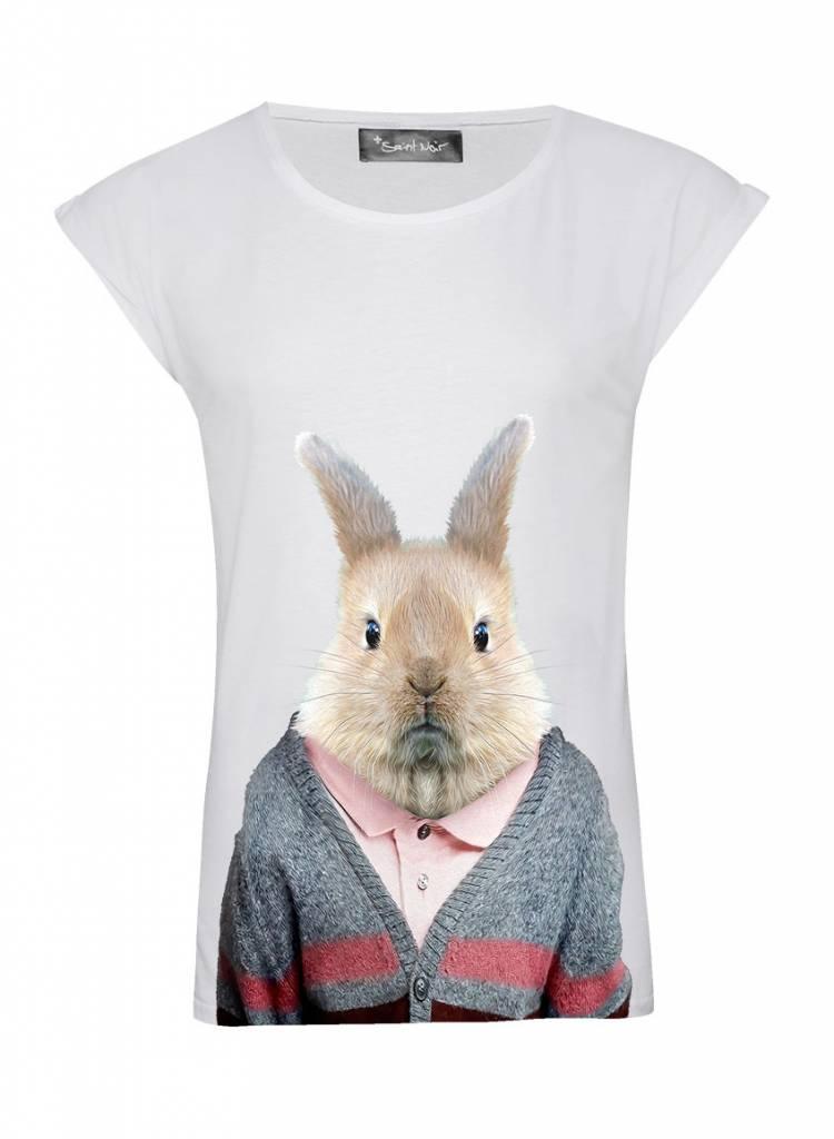 T-Shirt Rolled Sleeve Women - Rabbit - Zoo Portraits