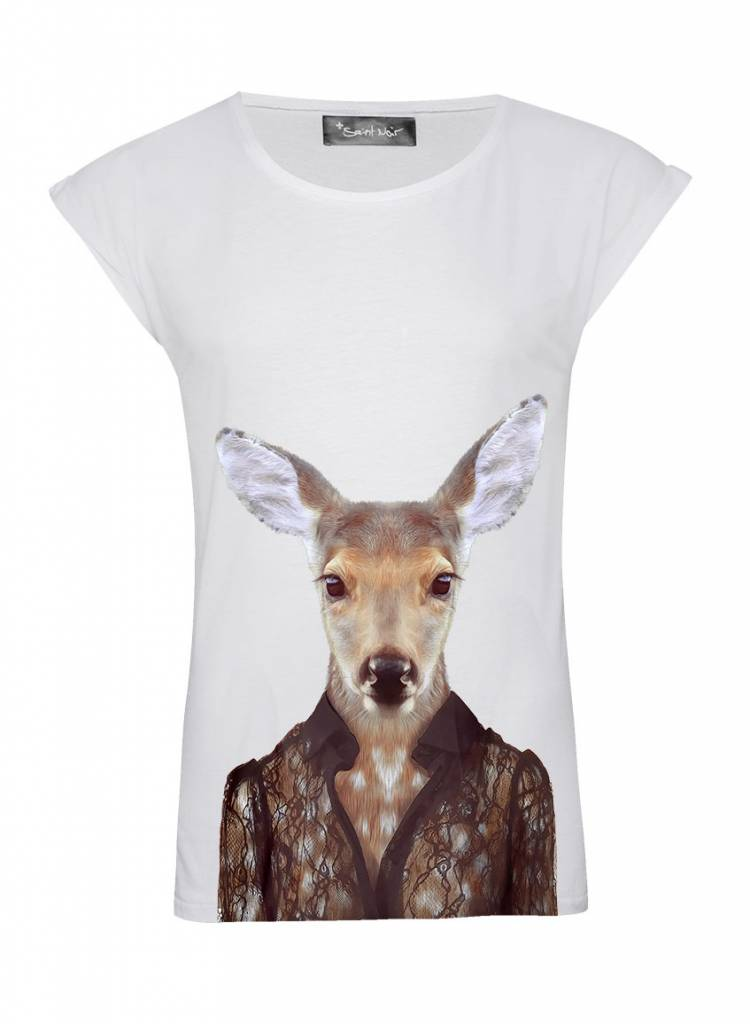 T-Shirt Rolled Sleeve Ladies - Deer - Zoo Portraits