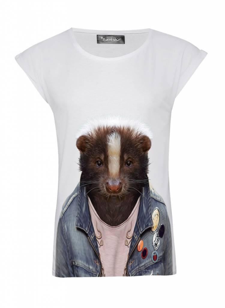 T-Shirt Rolled Sleeve Ladies - Skunk - Zoo Portraits