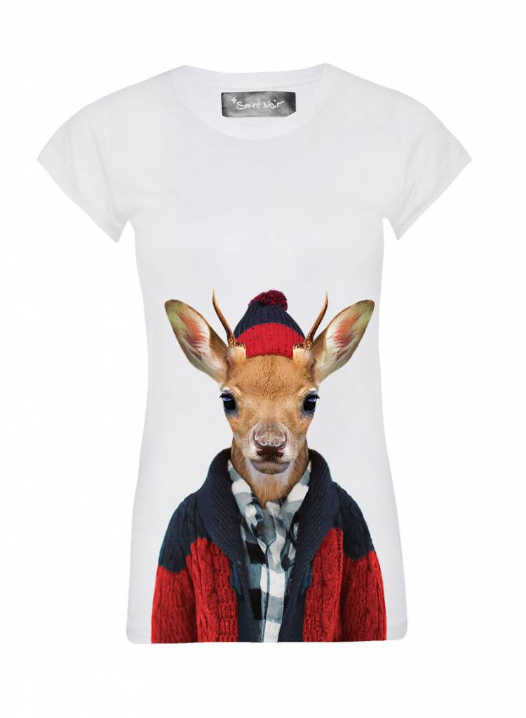 T-Shirt Skinny Cut Women - Whitetailed Deer - Zoo Portraits