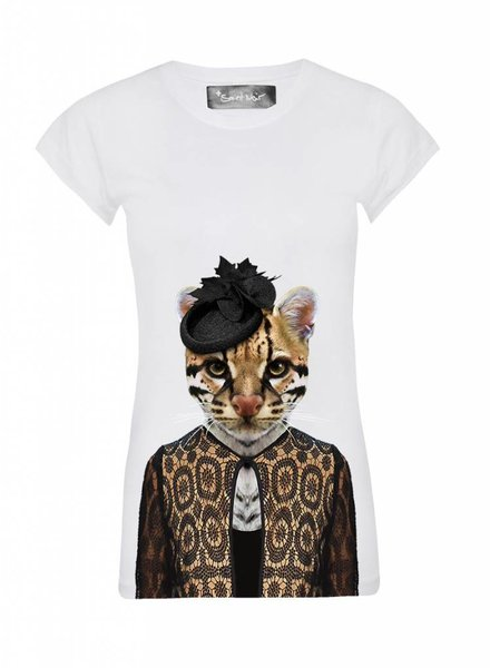 T-Shirt Skinny Cut Damen - Ocelot - Zoo Portraits