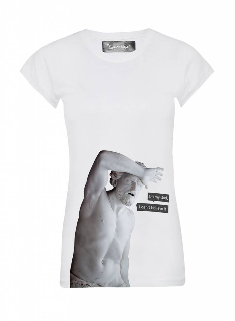 T-shirt Skinny Women Cut - My God - Statue Collection