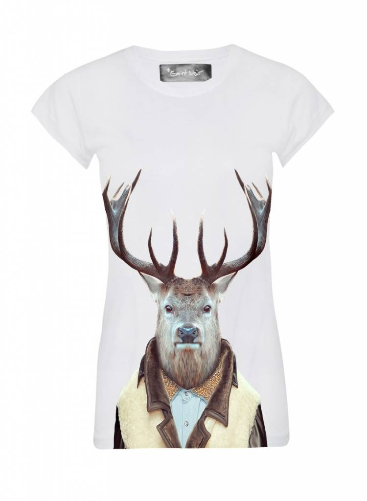 T-Shirt Skinny Cut Women - Stag - Zoo Portraits
