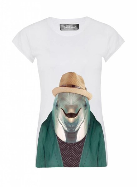 T-shirt Skinny Women Cut - Dolphin - Zoo Portraits