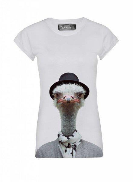 T-Shirt Skinny Cut Women - Ostrich - Zoo Portraits