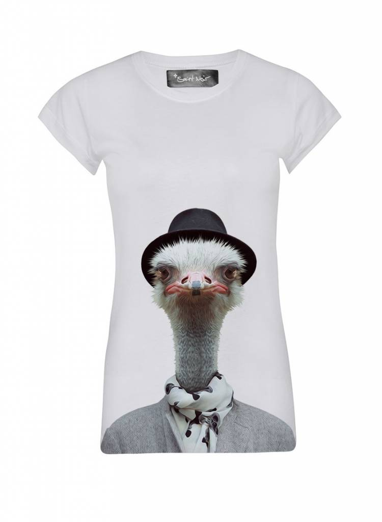 T-Shirt Skinny Cut Women - Ostrich - Zoo Portraits
