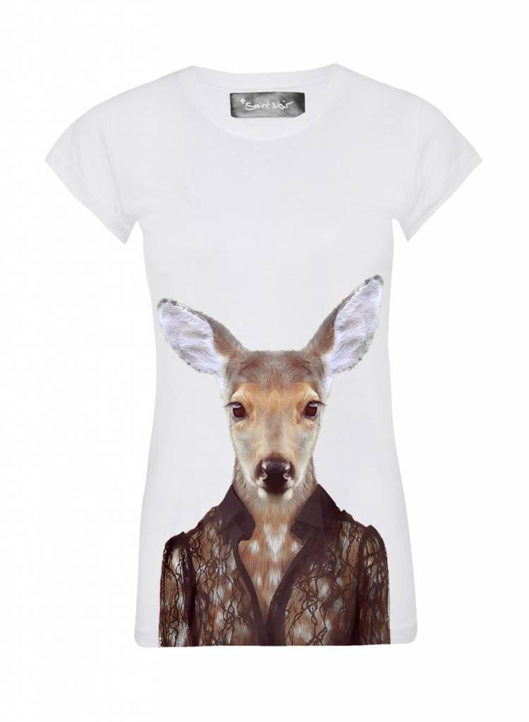 T-Shirt Skinny Cut Damen - Deer - Zoo Portraits