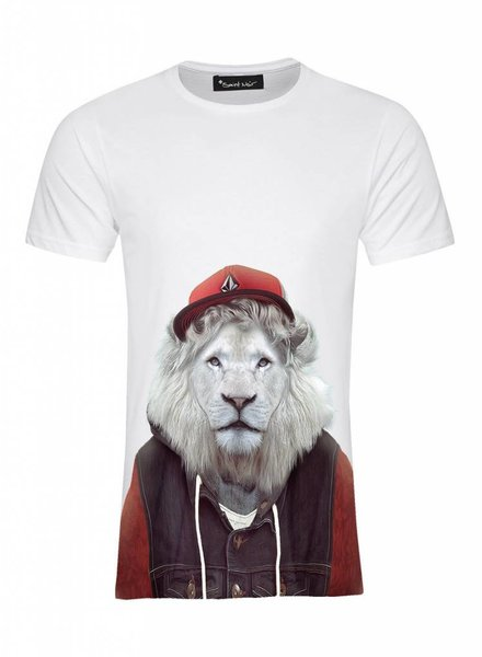 T-Shirt Men - White Lion - Zoo Portraits