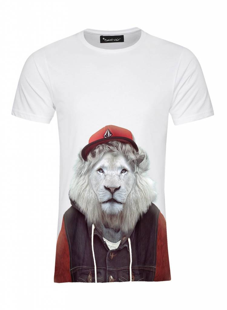T-Shirt Herren - White Lion - Zoo Portraits