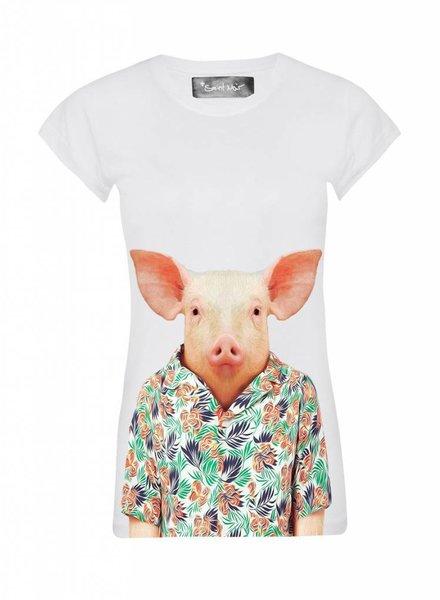 T-Shirt Skinny Cut Damen - Pig - Zoo Portraits