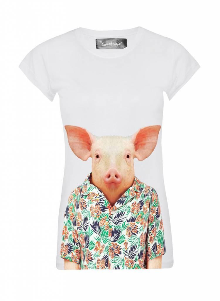 T-Shirt Skinny Cut Women - Pig - Zoo Portraits