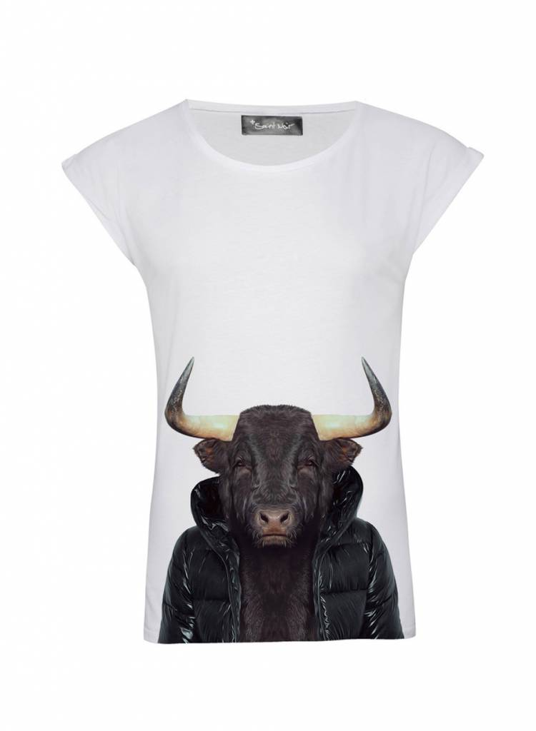 T-Shirt Rolled Sleeve Ladies - Bull - Zoo Portraits