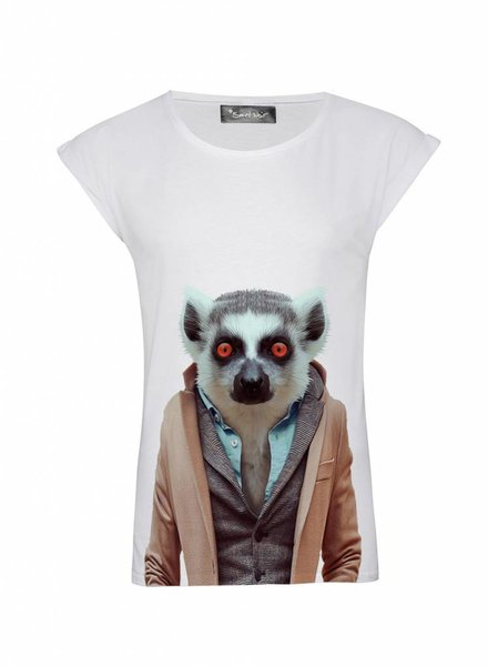 T-Shirt Rolled Sleeve Damen - Lemur - Zoo Portraits
