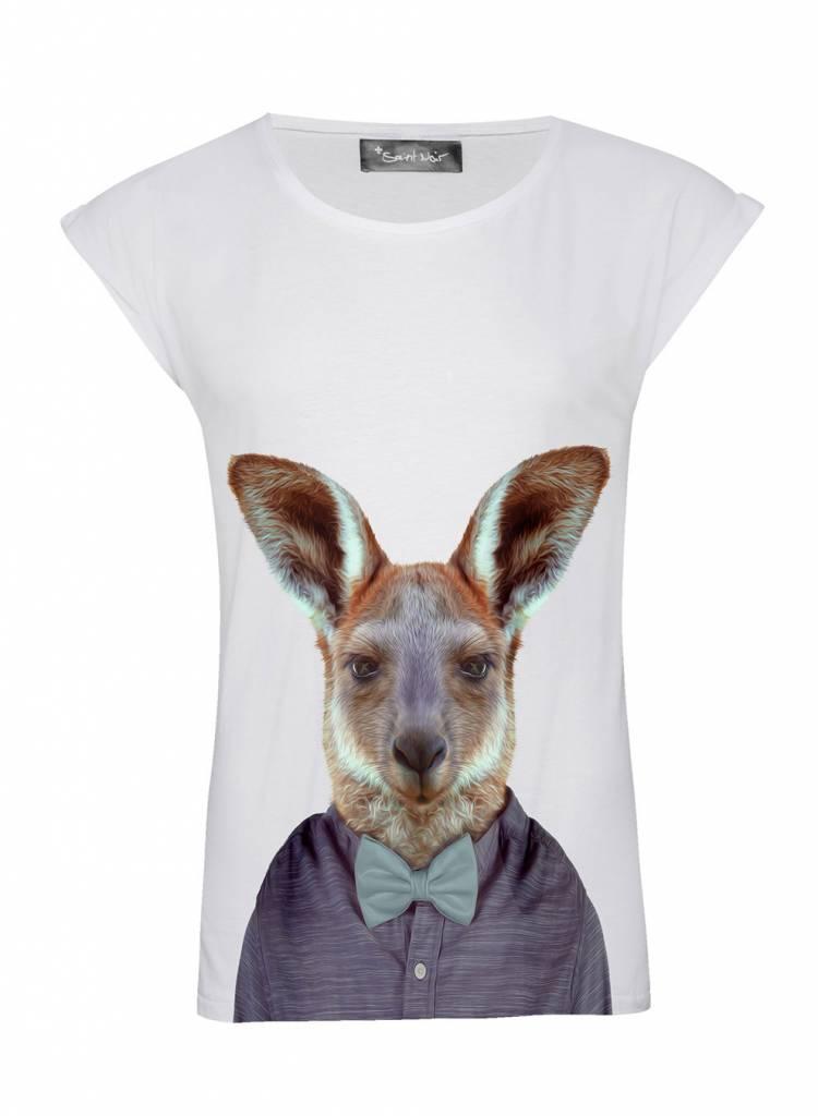 T-Shirt Rolled Sleeve Ladies - Kangaroo - Zoo Portraits