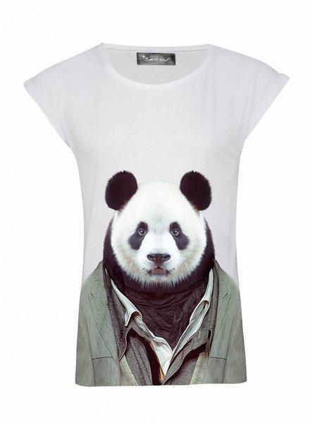 T-Shirt Rolled Sleeve Damen - Panda - Zoo Portraits