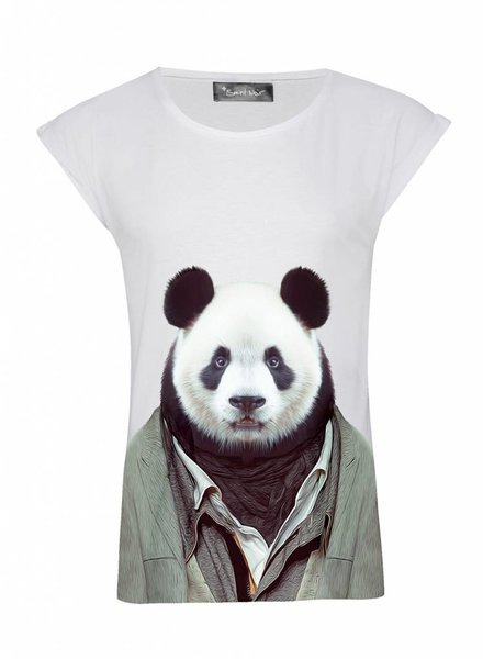 T-Shirt Rolled Sleeve Ladies - Panda - Zoo Portraits