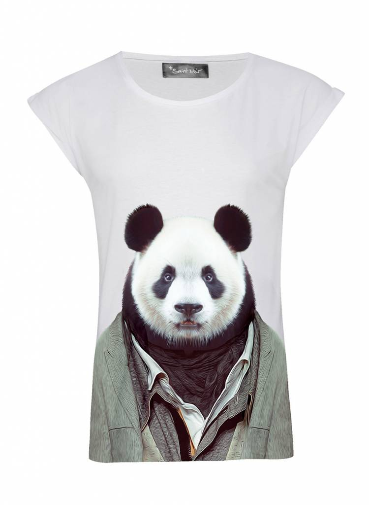 T-Shirt Rolled Sleeve Damen - Panda - Zoo Portraits