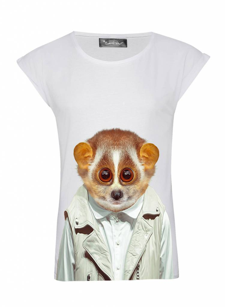 T-Shirt Rolled Sleeve Ladies - Slowloris - Zoo Portraits