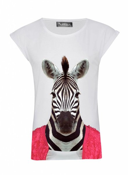 T-Shirt Rolled Sleeve Ladies - Zebra - Zoo Portraits