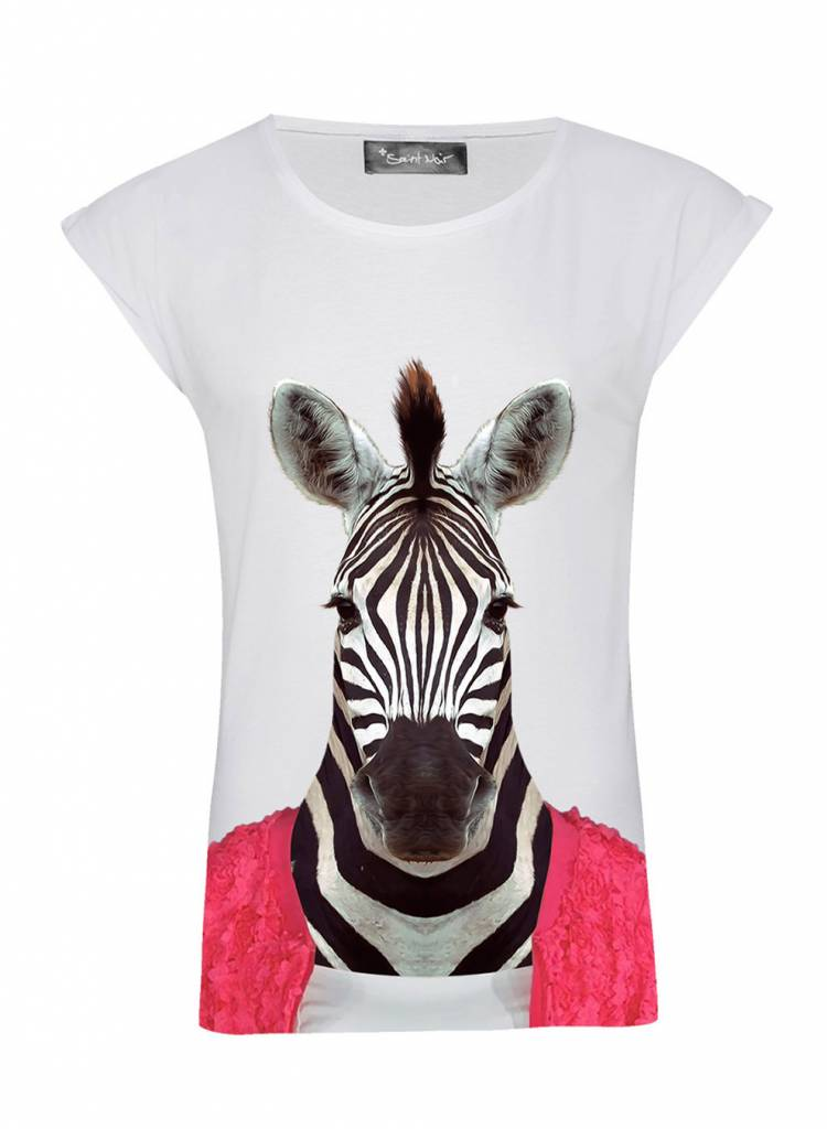 T-Shirt Rolled Sleeve Damen - Zebra - Zoo Portraits
