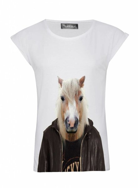 T-Shirt Rolled Sleeve Ladies - Horse - Zoo Portraits