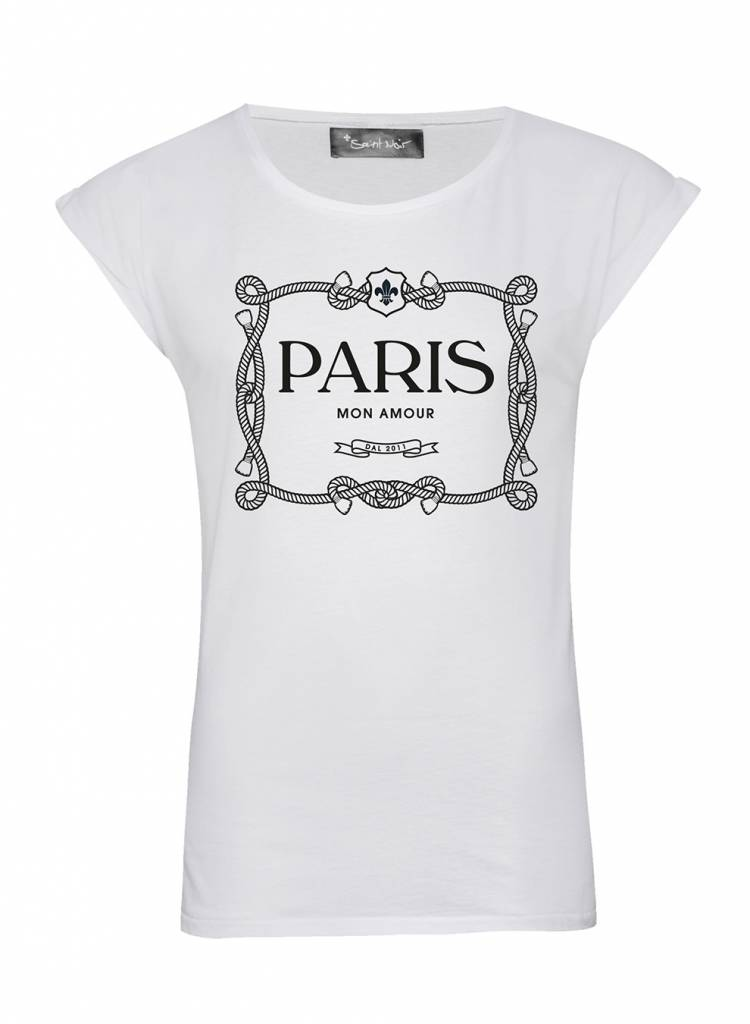 T-Shirt Rolled Sleeve Damen - Paris Mon Amour