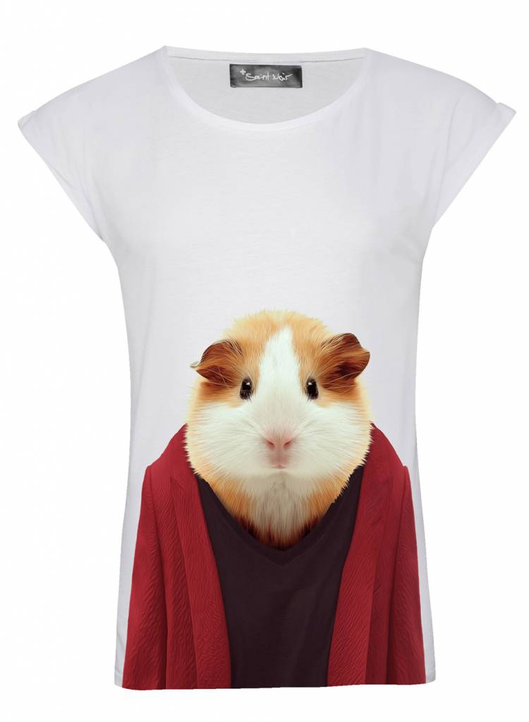 T-Shirt Rolled Sleeve Damen - Guinea Pig - Zoo Portraits