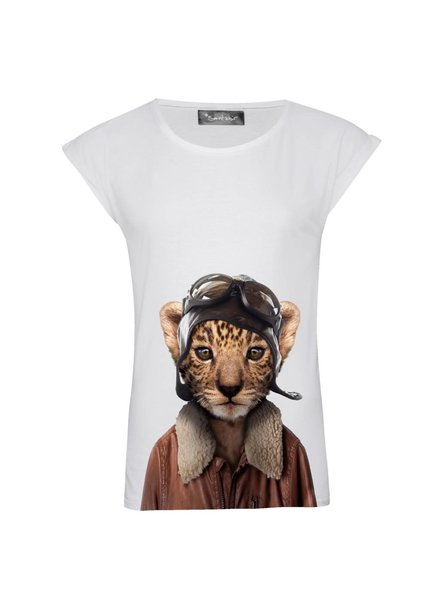T-Shirt Rolled Sleeve Damen - Little Leopard - Zoo Portraits