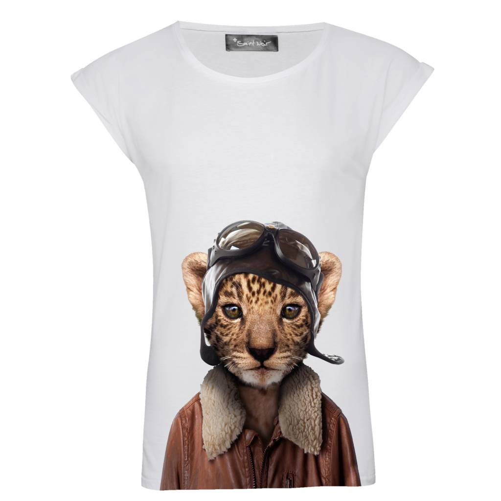 T-shirt Rolled Sleeve Women - Little Leopard - Zoo Portraits
