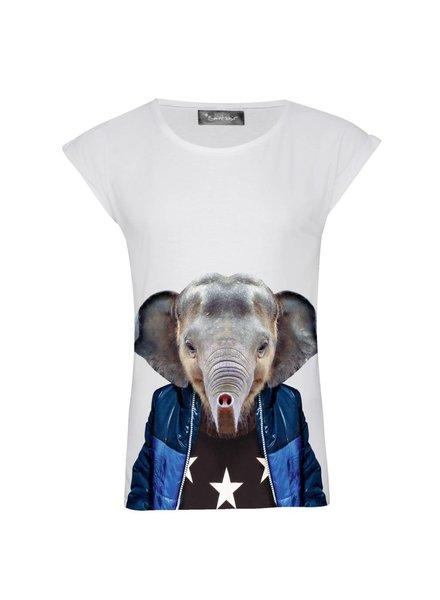 T-Shirt Rolled Sleeve Damen - Little Elefant - Zoo Portraits