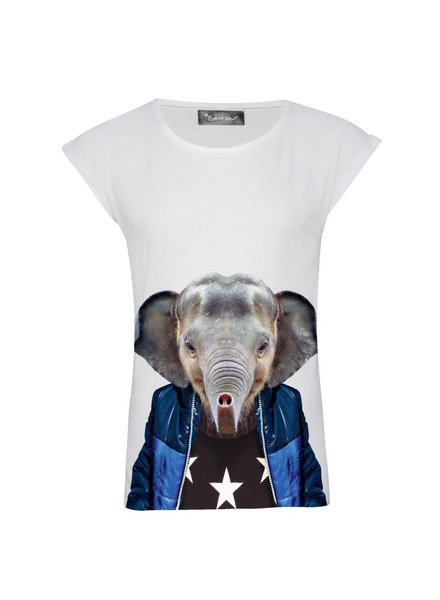 T-shirt Rolled Sleeve Women - Little Elefant - Zoo Portraits