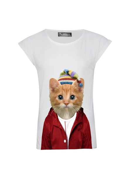 T-Shirt Rolled Sleeve Damen - Little Cat - Zoo Portraits