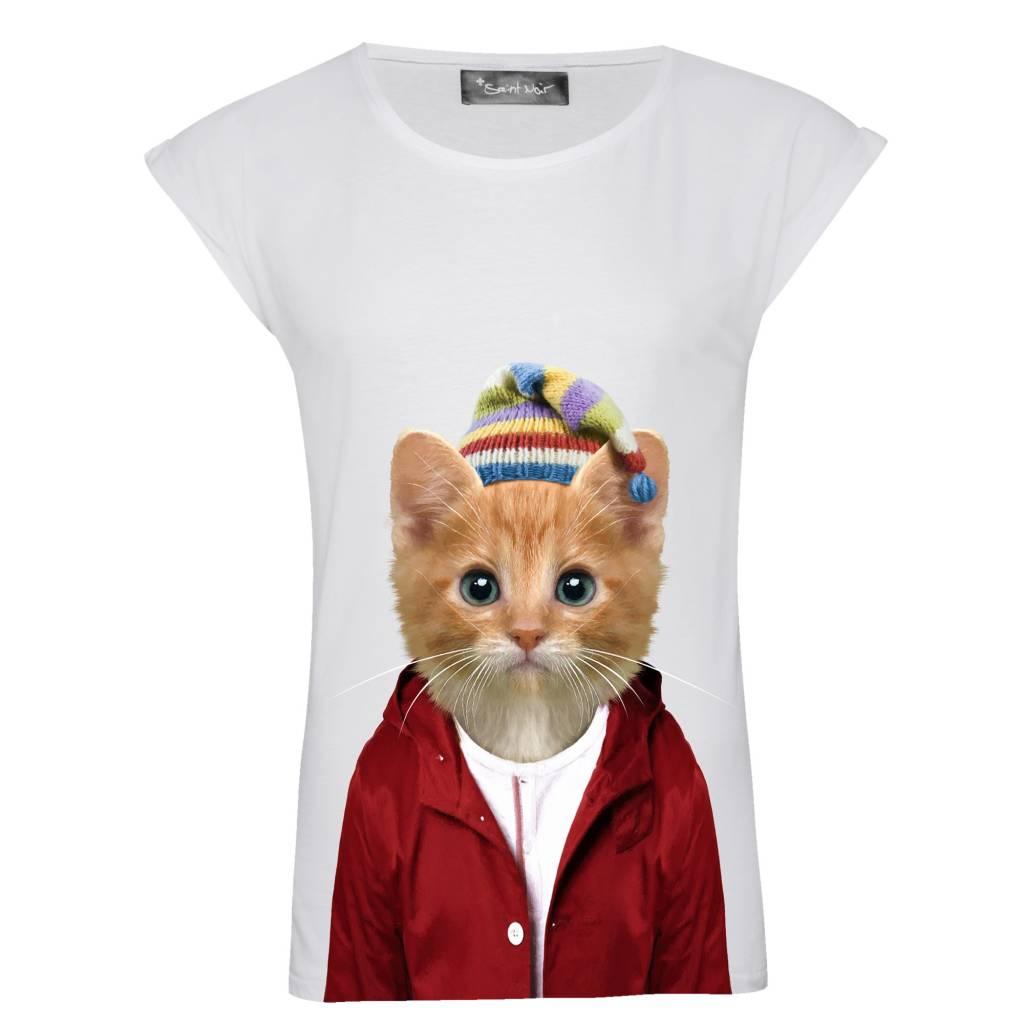 T-Shirt Rolled Sleeve Damen - Little Cat - Zoo Portraits