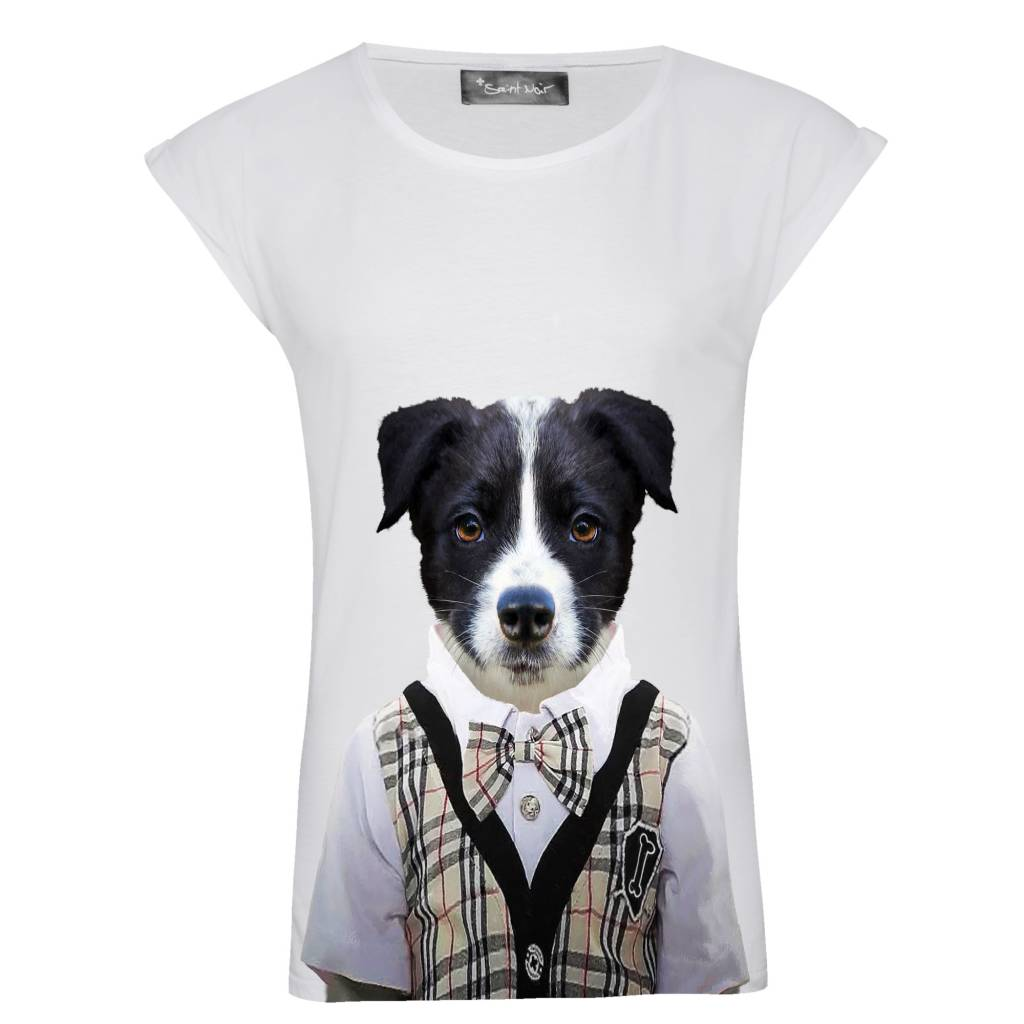 T-shirt Rolled Sleeve Women - Little Collie - Zoo Portraits