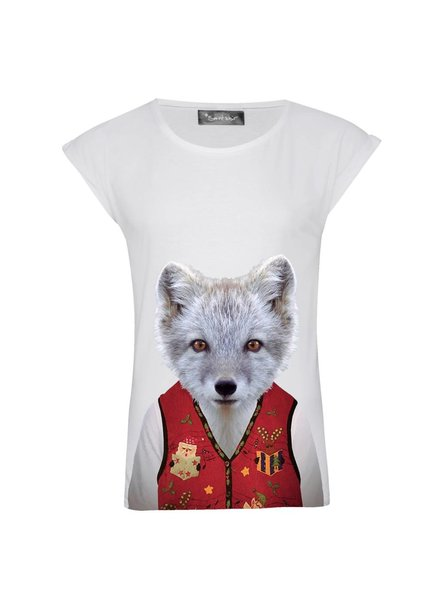 T-shirt Rolled Sleeve Women - Little Fox - Zoo Portraits