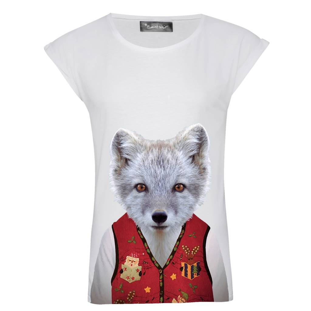 T-shirt Rolled Sleeve Women - Little Fox - Zoo Portraits