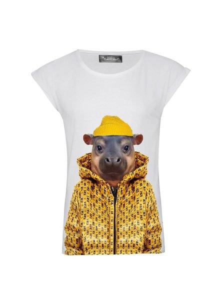 T-shirt Rolled Sleeve Women - Little Hippo - Zoo Portraits