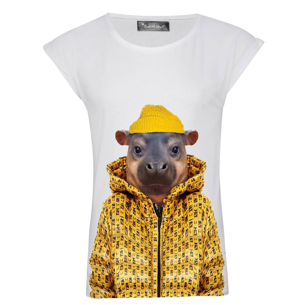 T-shirt Rolled Sleeve Women - Little Hippo - Zoo Portraits