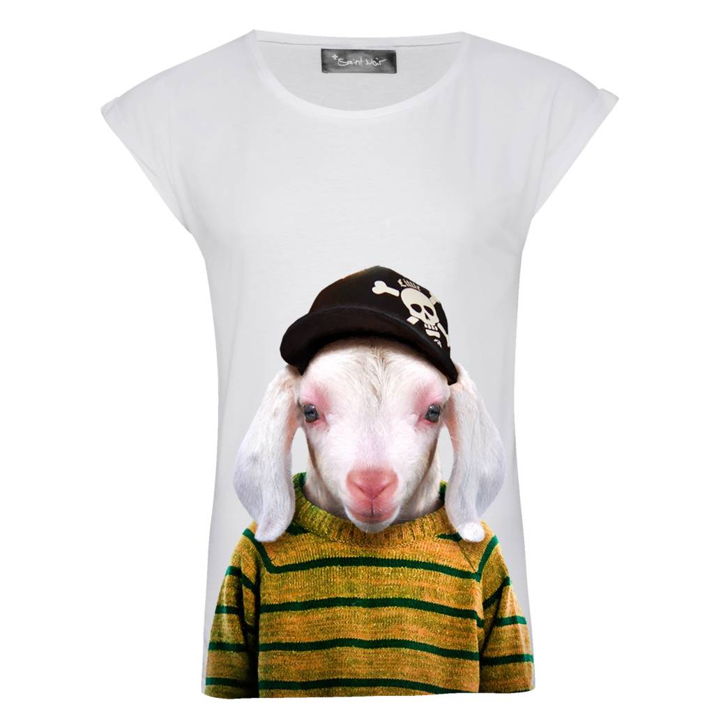 T-Shirt Rolled Sleeve Damen - Little Lamb - Zoo Portraits