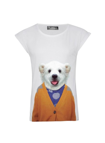 T-shirt Rolled Sleeve Women - Little Polar Bear - Zoo Portraits
