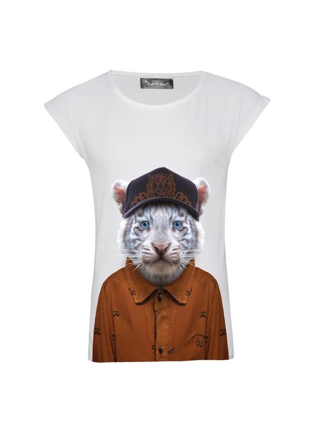T-shirt Rolled Sleeve Women - Little Tiger - Zoo Portraits