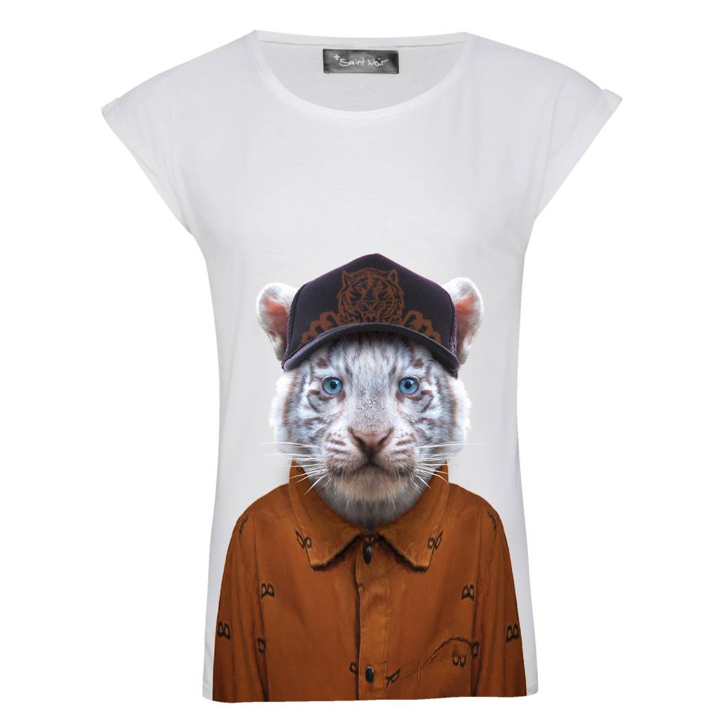 T-Shirt Rolled Sleeve Damen - Little Tiger - Zoo Portraits