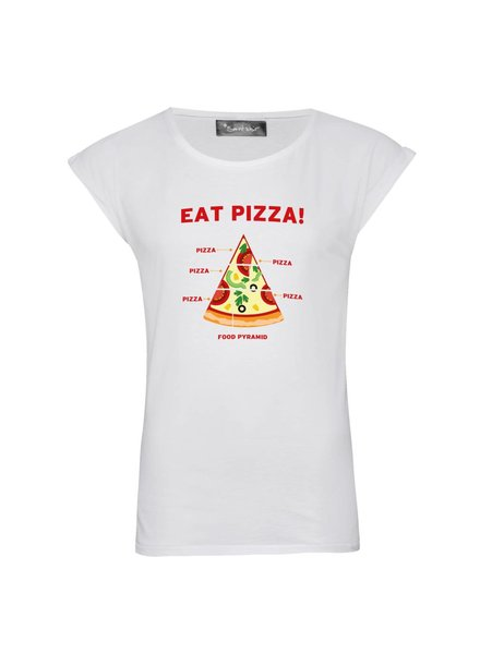 T-Shirt Rolled Sleeve Damen - Pizza