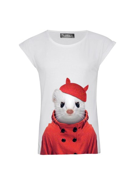 T-shirt Rolled Sleeve Women - Stoat - Zoo Portraits