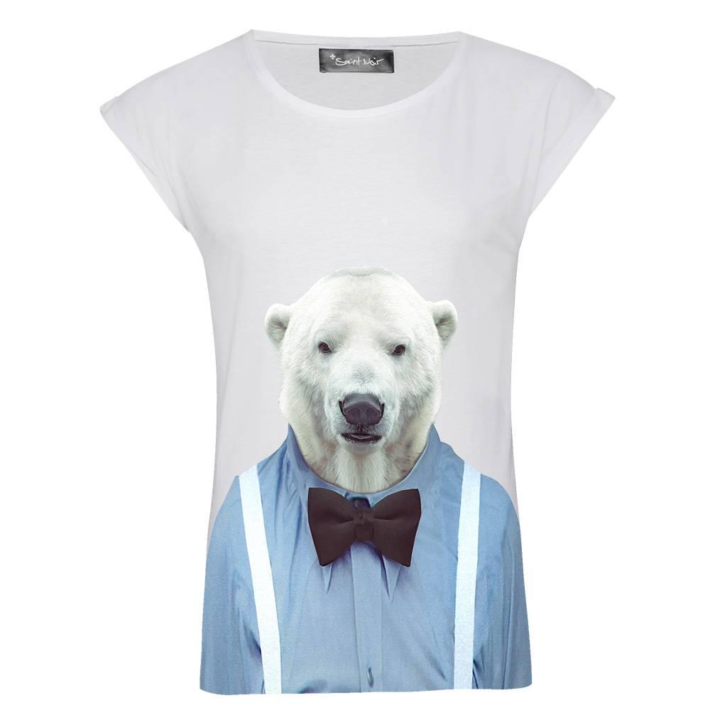 T-Shirt Rolled Sleeve Damen - Polar Bear - Zoo Portraits