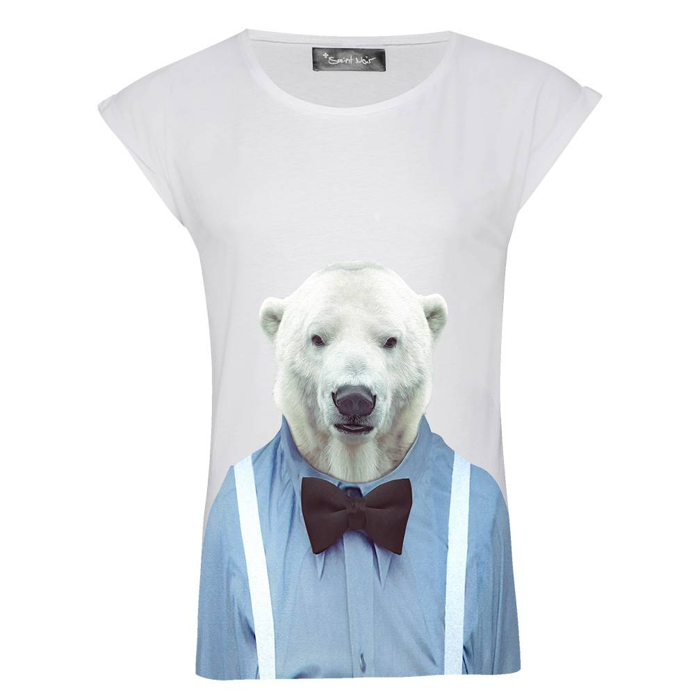 T-Shirt Rolled Sleeve Ladies - Polar Bear - Zoo Portraits